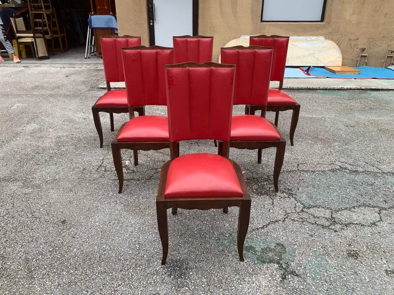 Set of 6 Vintage French Art Deco Solid Mahogany Dining Chairs, 1940s In Good Condition For Sale In Hialeah, FL