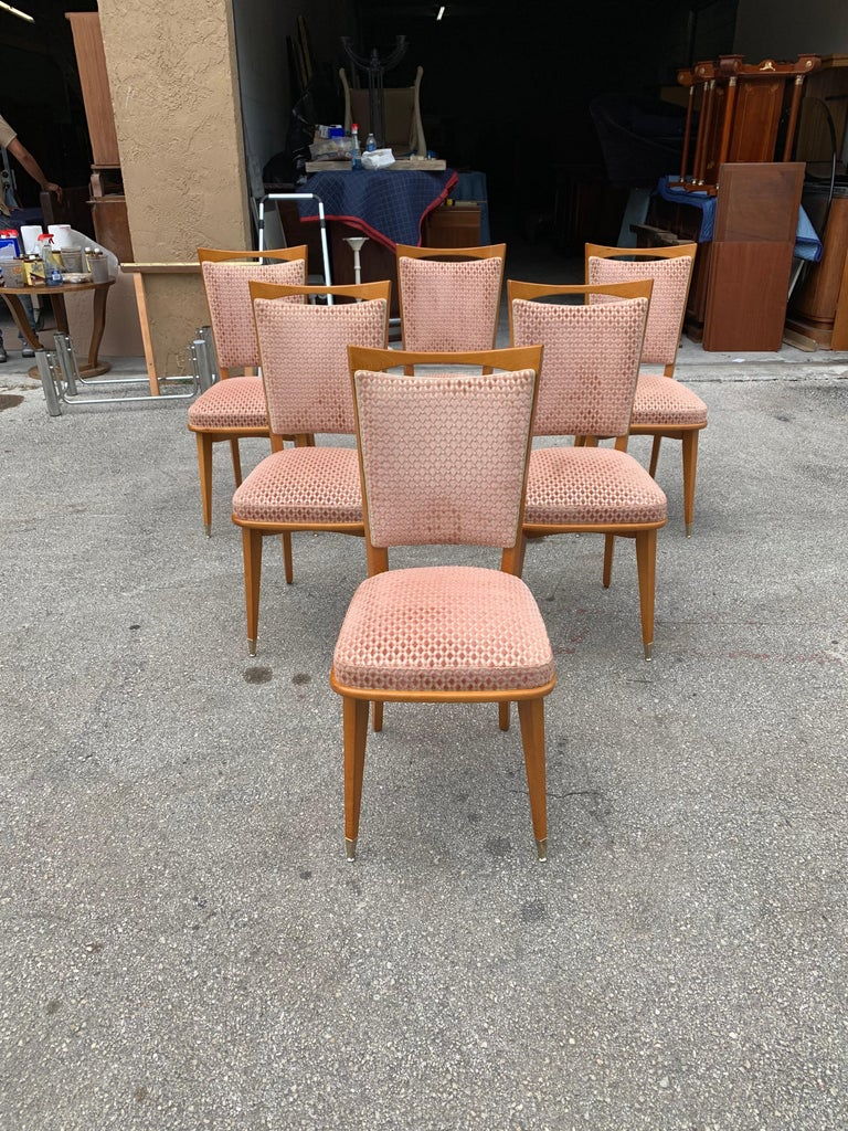 Mid-20th Century Set of 6 Vintage French Art Deco Solid Mahogany Dining Chairs, 1940s For Sale