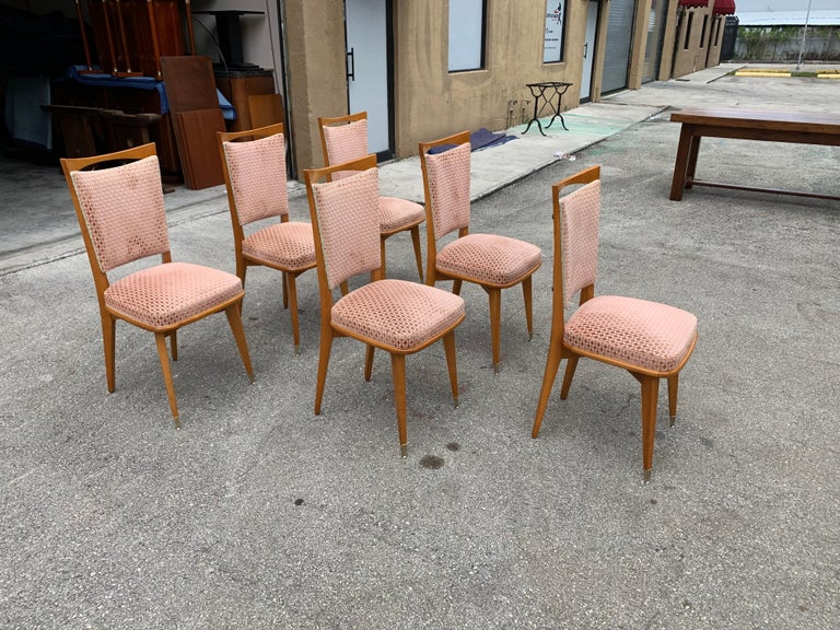 Brass Set of 6 Vintage French Art Deco Solid Mahogany Dining Chairs, 1940s For Sale