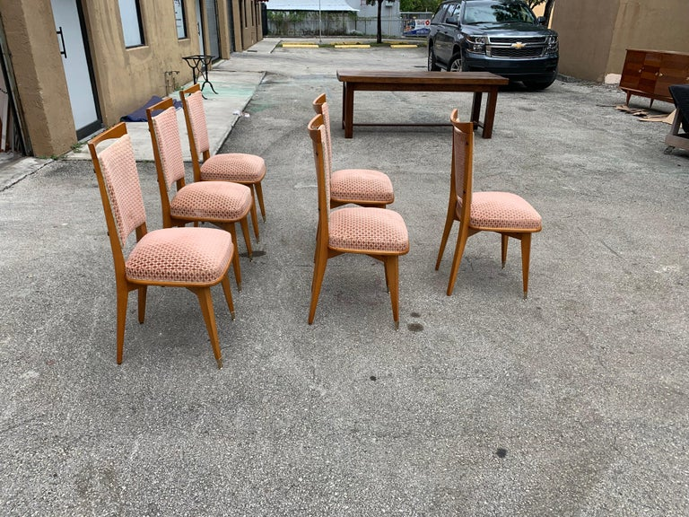 Set of 6 Vintage French Art Deco Solid Mahogany Dining Chairs, 1940s For Sale 1