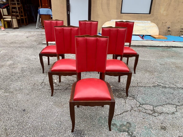 Set of 6 Vintage French Art Deco Solid Mahogany Dining Chairs, 1940s For Sale 2