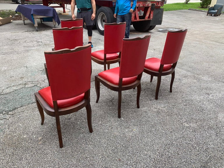 Set of 6 Vintage French Art Deco Solid Mahogany Dining Chairs, 1940s For Sale 3