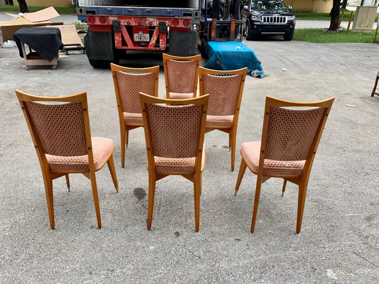 Set of 6 Vintage French Art Deco Solid Mahogany Dining Chairs, 1940s For Sale 4