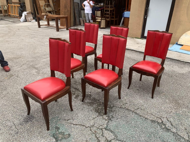 Set of 6 Vintage French Art Deco Solid Mahogany Dining Chairs, 1940s For Sale 5