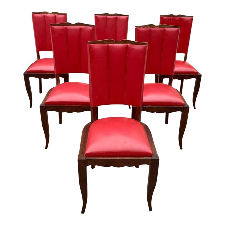 Set of 6 Vintage French Art Deco Solid Mahogany Dining Chairs, 1940s For Sale
