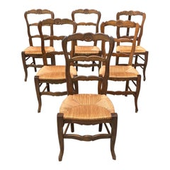 Set of 6 Vintage French Country Rush Seat Solid Walnut Dining Chairs, 1910s