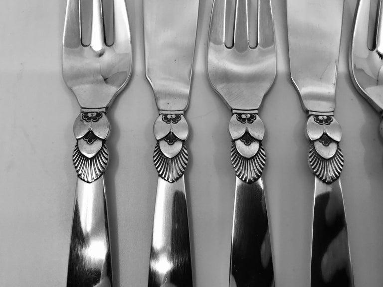 Art Deco Set of 6 Vintage Georg Jensen Cactus Fish Knives and Forks For Sale