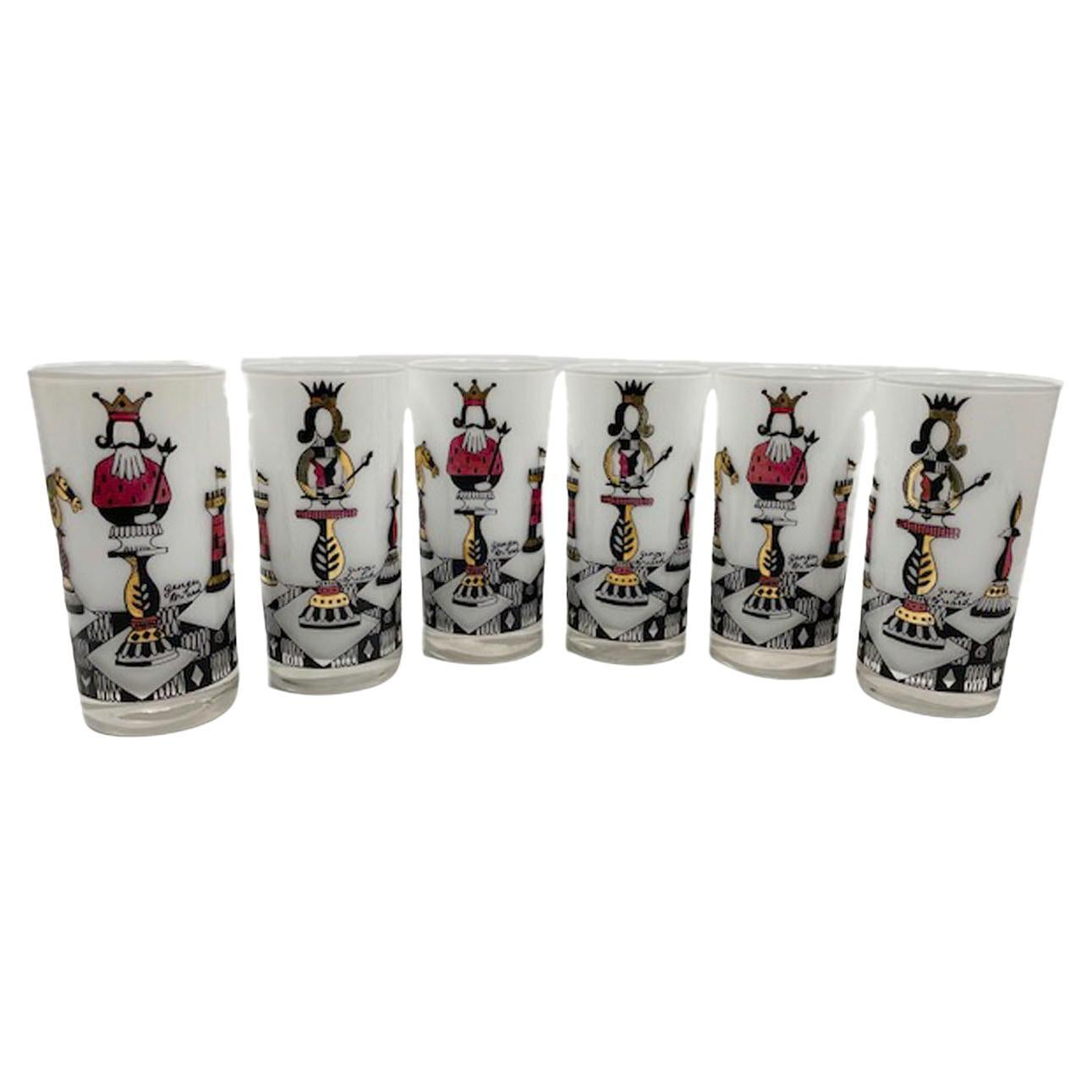 Set of 6 Vintage Georges Briard Chess Themed Highball Glasses