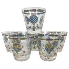 Set of 6 Vintage Georges Briard Old Fashioned Glasses in the Fancy Free Pattern