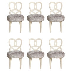 Set of 6 Vintage Hollywood Regency Chairs Upholstered in Faux Fur