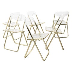 Set of 6 Vintage Italian Lucite Folding Chairs