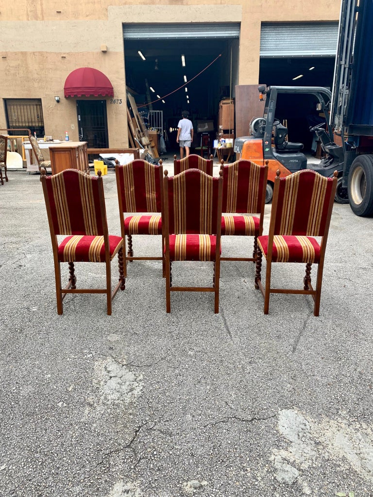 Set of 6 Vintage Louis XIII Style Barley Twist Solid Walnut Dining Chairs, 1880s For Sale 4