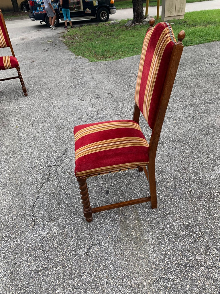 Set of 6 Vintage Louis XIII Style Barley Twist Solid Walnut Dining Chairs, 1880s For Sale 6