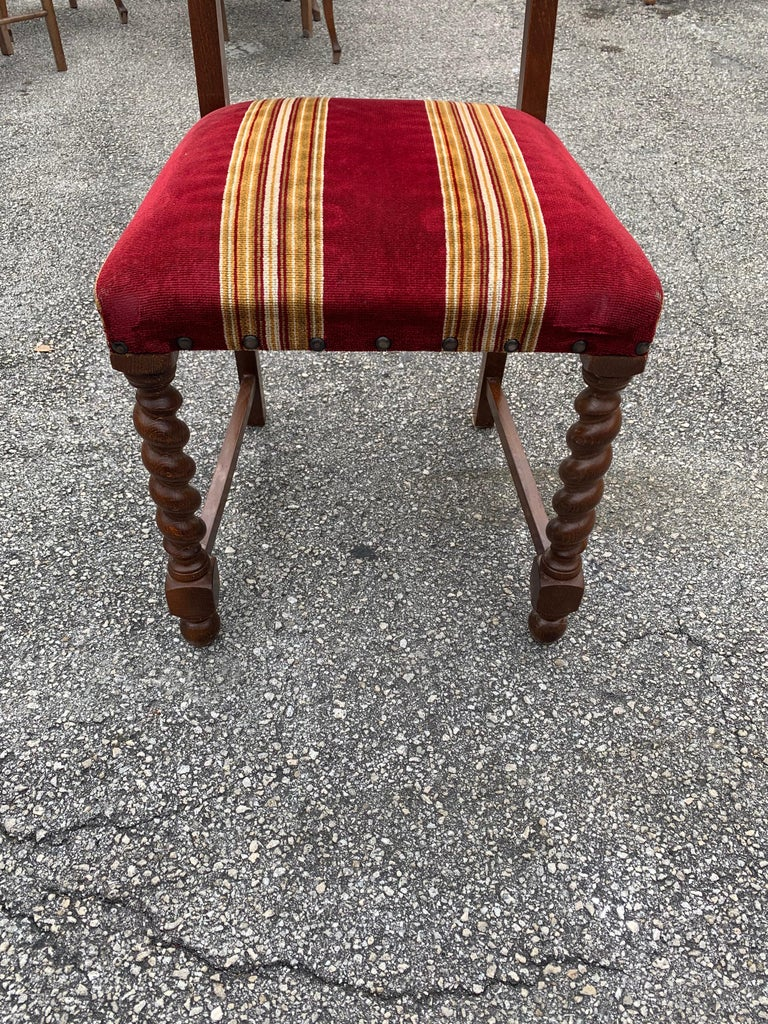 Set of 6 Vintage Louis XIII Style Barley Twist Solid Walnut Dining Chairs, 1880s For Sale 7