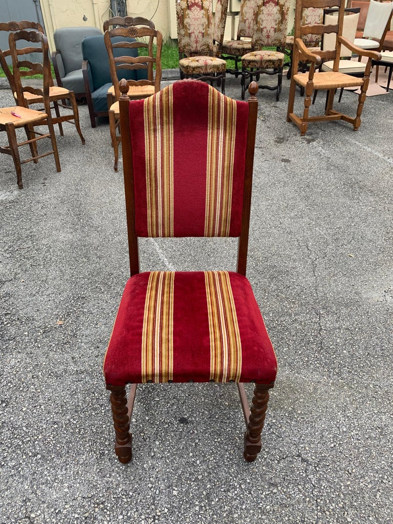 Set of 6 Vintage Louis XIII Style Barley Twist Solid Walnut Dining Chairs, 1880s For Sale 8