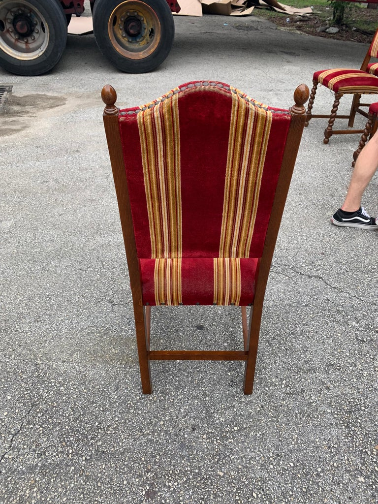 Set of 6 Vintage Louis XIII Style Barley Twist Solid Walnut Dining Chairs, 1880s For Sale 9