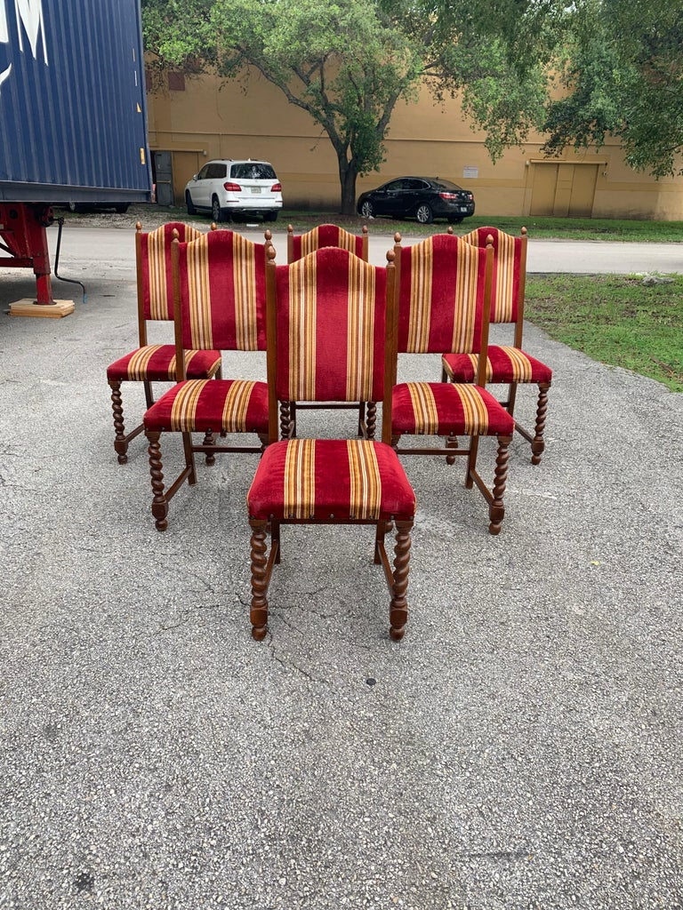 French Set of 6 Vintage Louis XIII Style Barley Twist Solid Walnut Dining Chairs, 1880s For Sale