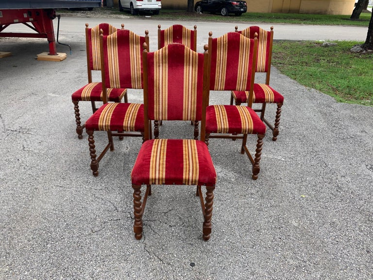 Late 19th Century Set of 6 Vintage Louis XIII Style Barley Twist Solid Walnut Dining Chairs, 1880s For Sale