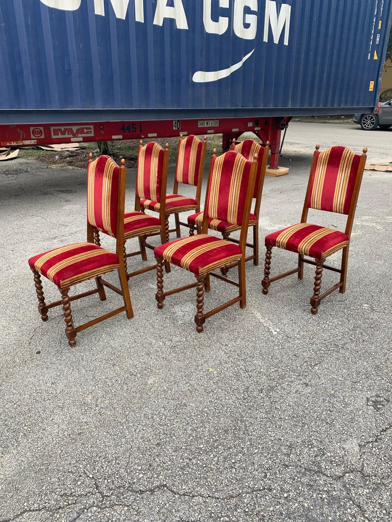 Velvet Set of 6 Vintage Louis XIII Style Barley Twist Solid Walnut Dining Chairs, 1880s For Sale