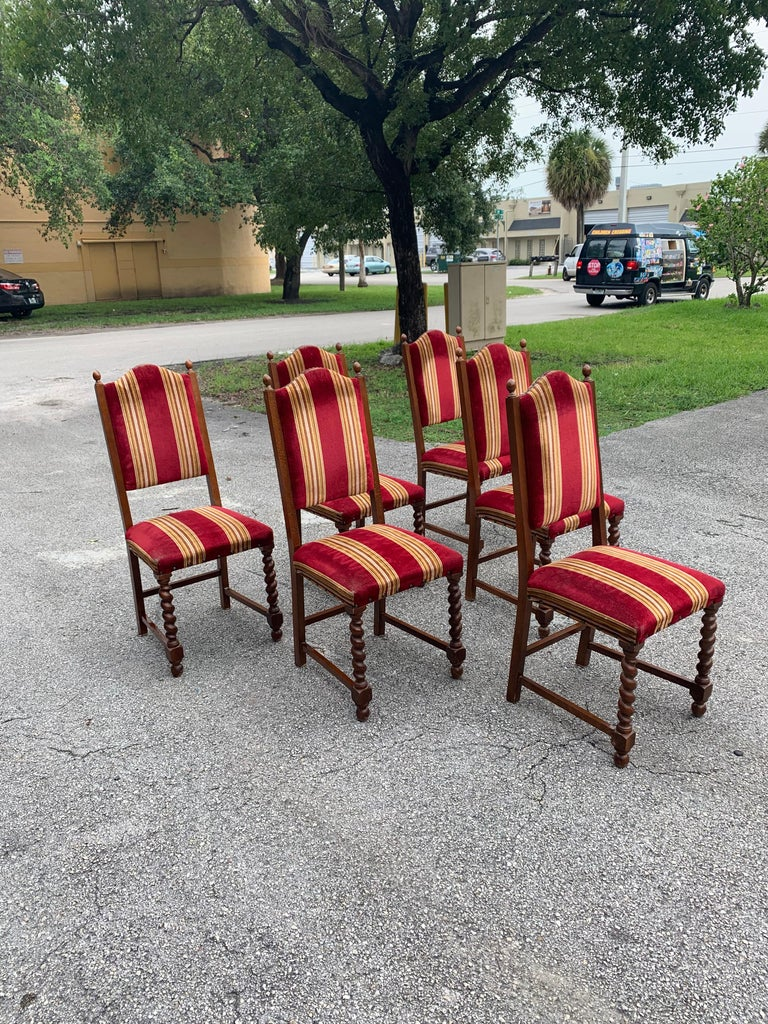 Set of 6 Vintage Louis XIII Style Barley Twist Solid Walnut Dining Chairs, 1880s For Sale 1