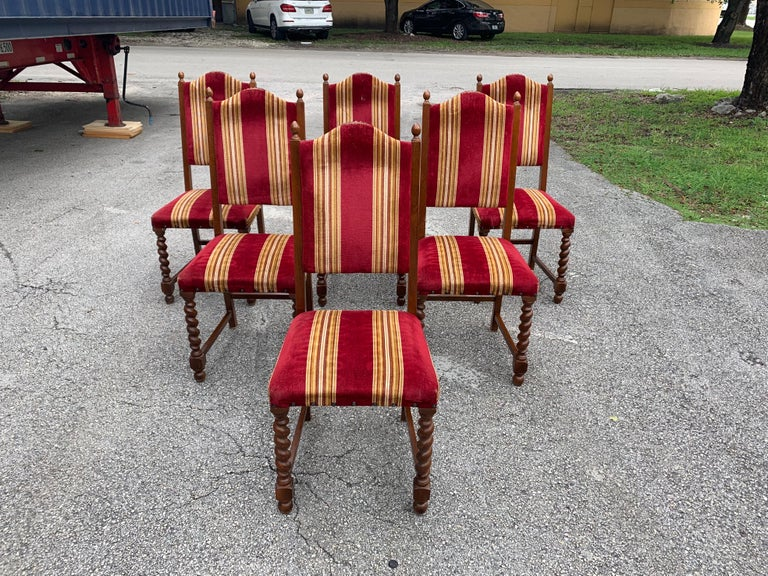 Set of 6 Vintage Louis XIII Style Barley Twist Solid Walnut Dining Chairs, 1880s For Sale 2