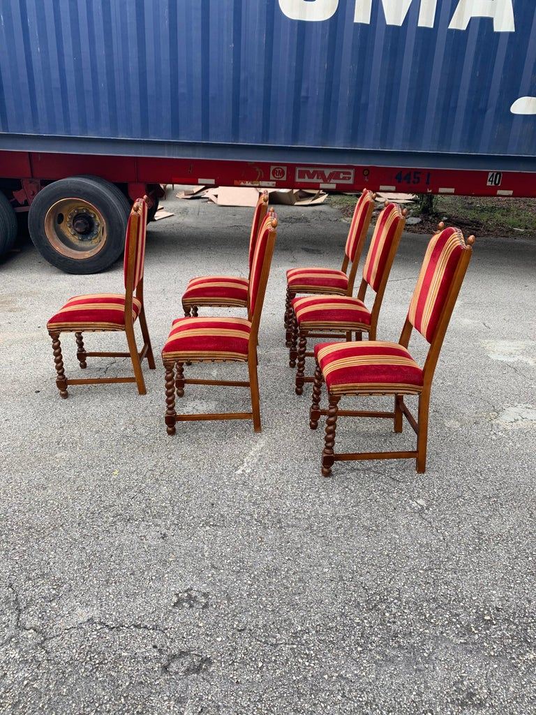 Set of 6 Vintage Louis XIII Style Barley Twist Solid Walnut Dining Chairs, 1880s For Sale 3