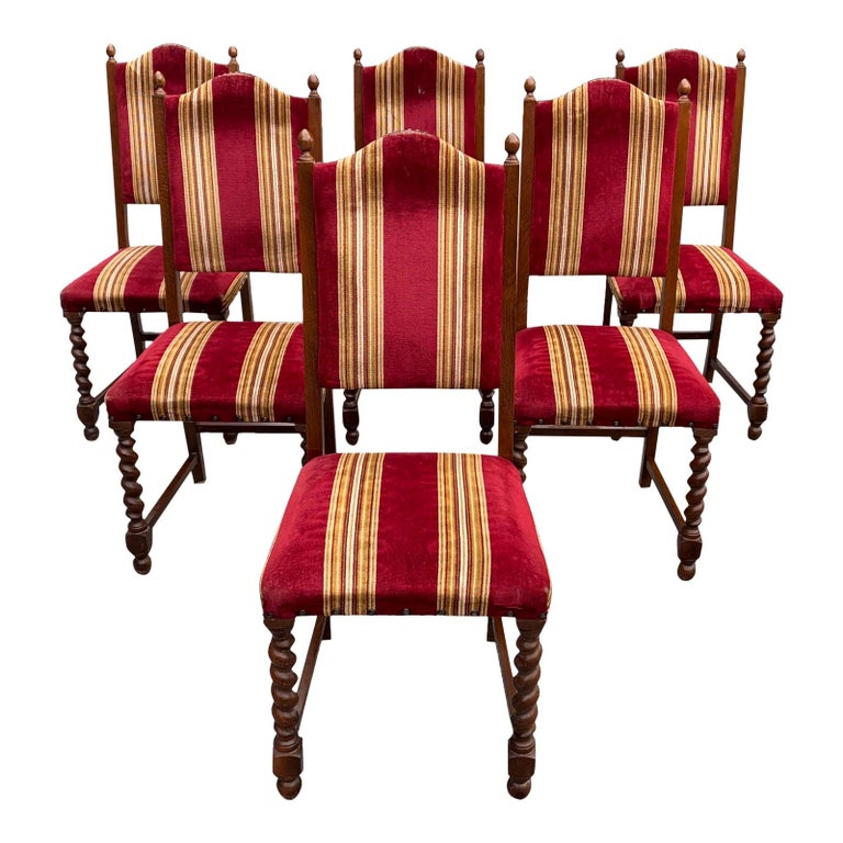 Set of 6 Vintage Louis XIII Style Barley Twist Solid Walnut Dining Chairs, 1880s For Sale
