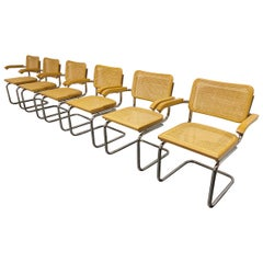 Set of 6 Vintage Marcel Breuer Style Cesca Chairs, Made in Italy, 1970s
