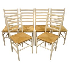 Set of 6 Vintage Midcentury Italian Modern Ladder Back Rush Seat Dining Chairs