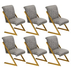 Set of 6 Vintage Milo Baughman Z Dining Chairs in Polished Brass Legs