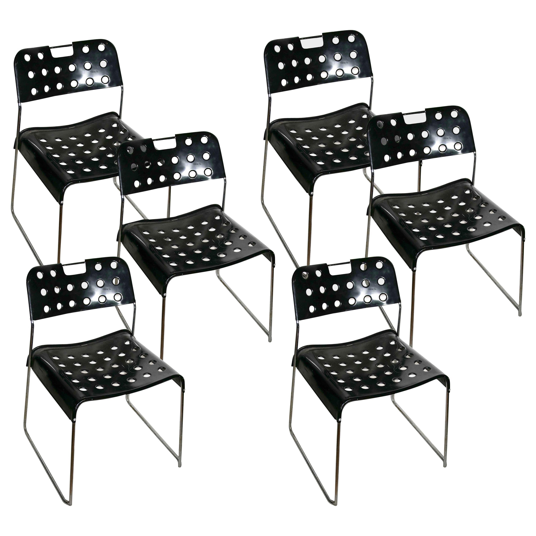 """Set of 6 Vintage """"Omstak"""" Black Metal Chairs, Rodney Kinsman for Bieffe, 1970s"""
