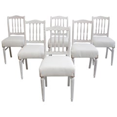 Set of 6 Vintage Painted and Upholstered Swedish Style Dining Chairs