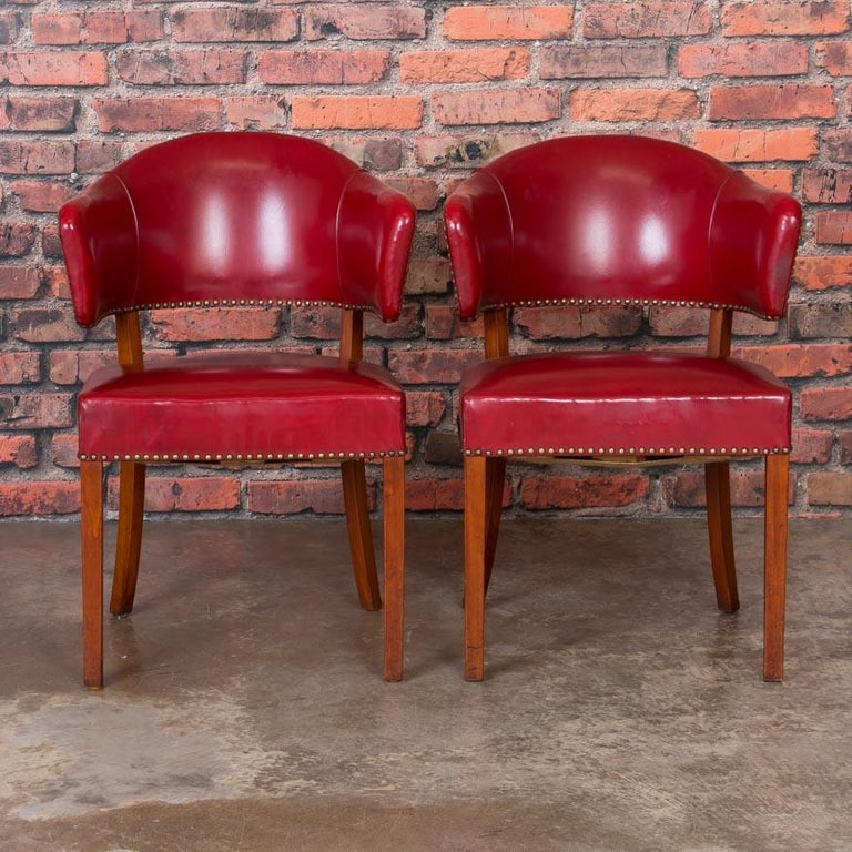 Astounding Set Of 6 Vintage Red Leather Barrel Back Side Chairs Danish Unemploymentrelief Wooden Chair Designs For Living Room Unemploymentrelieforg