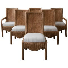 Set of 6 Vintage Reeded Bamboo Dining Chairs by Karl Rausch for Baker