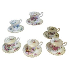Set of 6 Vintage Royal Albert Flowers of the Month Teacup or Saucer