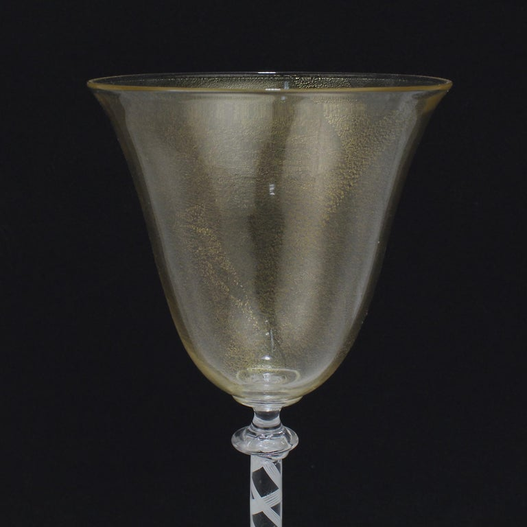 Set of 6 Vintage Venetian Wine Goblets with White Twist Stems & Gold Inclusions For Sale 5