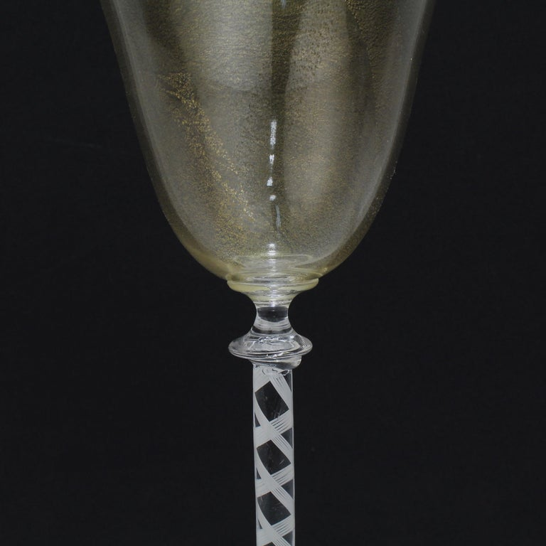 Set of 6 Vintage Venetian Wine Goblets with White Twist Stems & Gold Inclusions For Sale 6