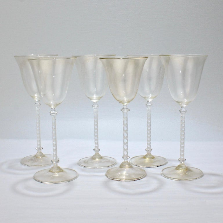 Mid-Century Modern Set of 6 Vintage Venetian Wine Goblets with White Twist Stems & Gold Inclusions For Sale