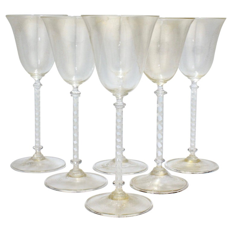 Set of 6 Vintage Venetian Wine Goblets with White Twist Stems & Gold Inclusions For Sale