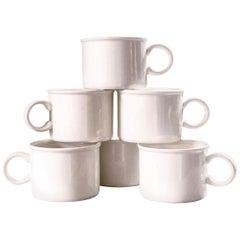 Set of 6 Vintage White Ironstone Mugs