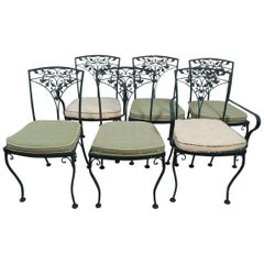 Set of 6 Vintage Woodard Wrought Iron Dining Chairs