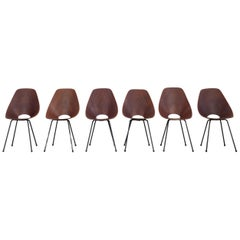 Set of 6 Vittorio Nobili Medea Plywood Side Chairs from Italy, 1956