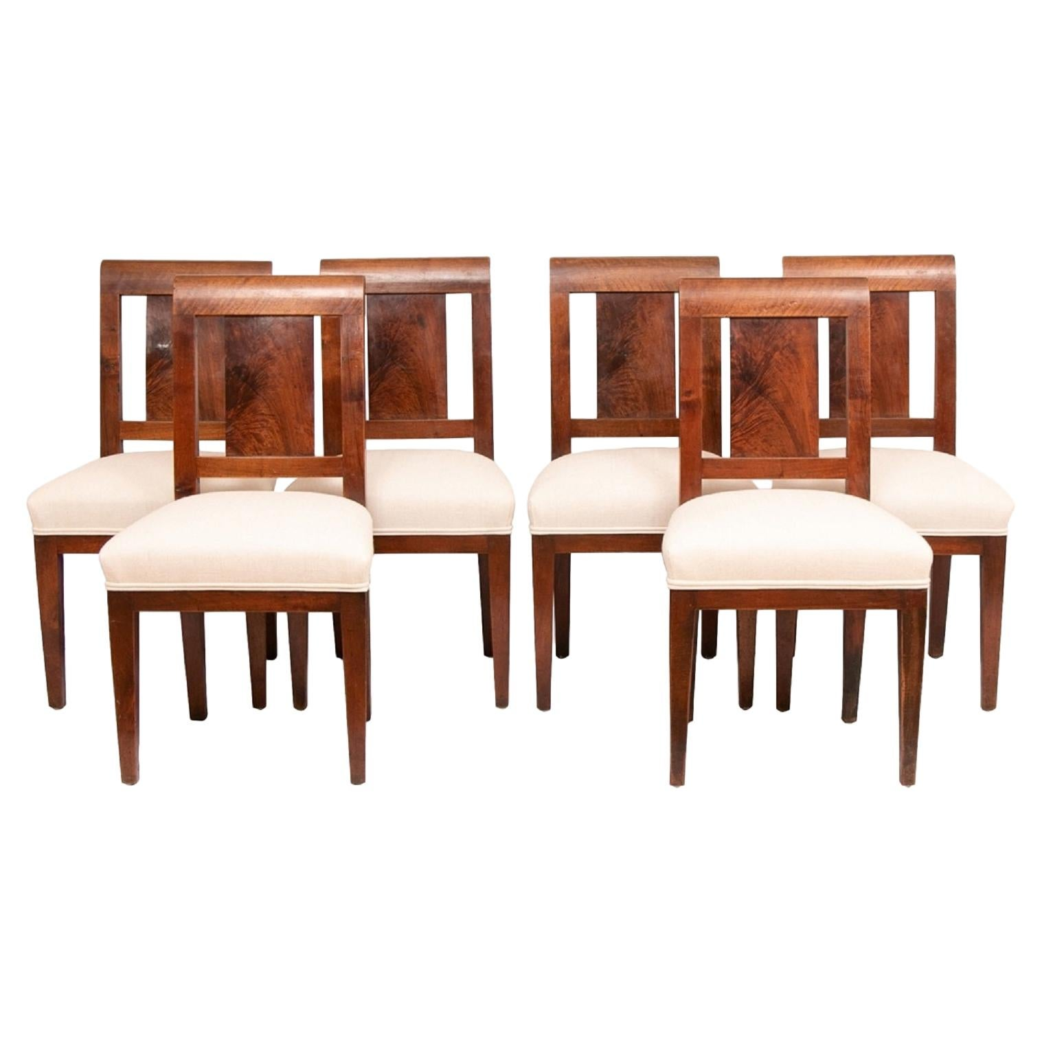 Set of 6 Walnut Dining Chairs, 20th Century