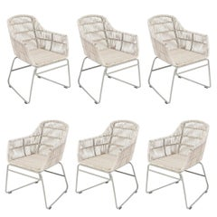 Set of Six Warm White Resin and Metal Outdoor Armchairs