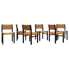 Set of 6 Wenge & Papercord Dining Chairs by Arnold Merckx for Fristho, 1973
