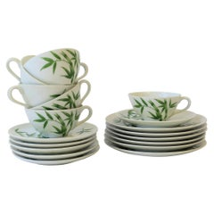 Bamboo White & Green Porcelain Lunch Dessert Tea/Coffee Dining Set of 6