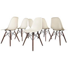 Set of 6 White Eames DSW Dining Side Chairs, 1950s