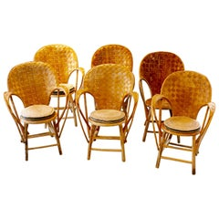Set of 6 Wicker Chairs, Provence Chair, Designed by Le Corbusier