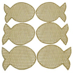 Set of 6 Wicker Fish Placemats, circa 1970s