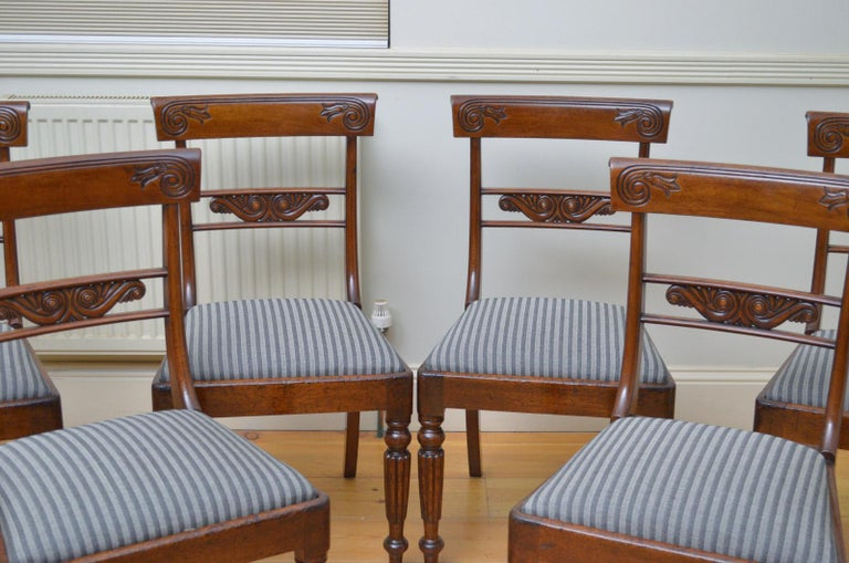 English Set of 6 William IV Mahogany Dining Chairs For Sale